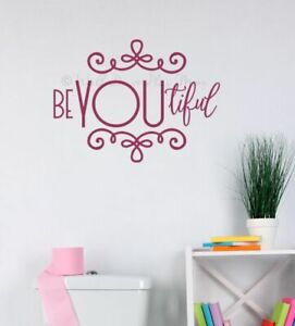 Wall Word Decor Stickers BeYOUtiful Girls Bathroom Art Decals Vinyl Letters