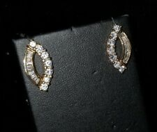 Ross Simons 18k yellow gold vermeil sterling silver C Z cluster earrings 925 DL