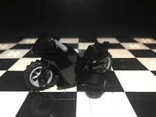 Lego Black Motorcycle / Motorbike X1 With Helmet / City / Sports / Racer /