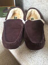 NIB EDDIE BAUER Brown Jason Genuine Suede Cushion Fur Lined Slippers M 8-9