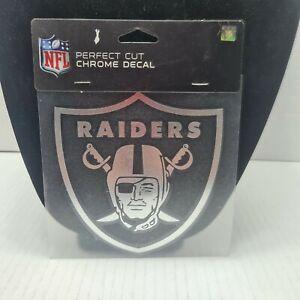 "🔥 Oakland Raiders 6""x6"" Chrome Auto Decal NFL Car Emblem Sticker NEW 🔥"