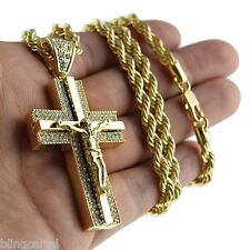 "Jesus Piece Iced-Out Crucifix Cross Pendant Gold Finish Necklace 30"" Rope Chain"