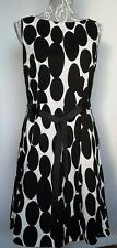 Wallace Dress UK 12 White & Black Large Dots Princess Cut Fit & Flair Underskirt