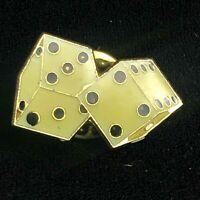 Vintage Enamel Dice Casino Gambler Lapel Pin