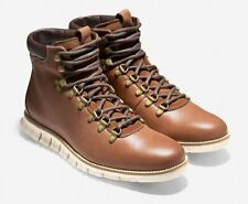 NEW Cole Haan Zerogrand WR Leather Hiker Boots 9 W Woodbury Brown/Ivory $300