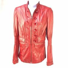 Designer ViaVeneto leather jacket size XS Italy Via Veneto Red