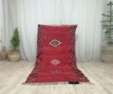 """Handmade Moroccan Boujaad Carpet 3'4""""x7' Vintage Geometric Red Berber Wool Rug"""