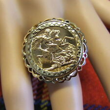 9 ct GOLD second hand full sovereign coin ring