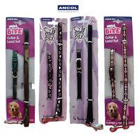 Ancol Puppy Nylon Collar & Lead Set Camo Heart Small Bite Dog Pink Blue