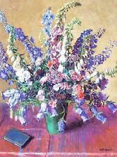 ART PRINT POSTER PAINTING PIEDS D'ALOUETTE DELPHINIUM FLOWERS NOFL0808
