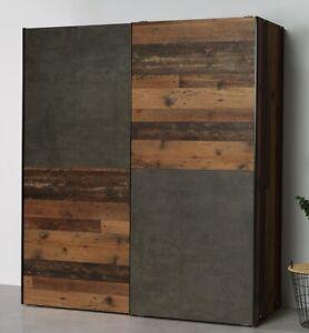 Schwebetürenschrank 2-trg. Dederik Kleiderschrank Old Wood Vintage Betonoptik