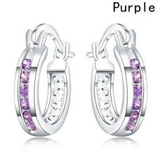 5 Colors Small Hoop Earrings For Women Ear Clamp Buckle Silver Plated Circle