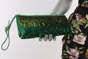 MIU MIU Green Ombre Sequin Metallic Leather Wristlet Clutch Evening Bag Handbag