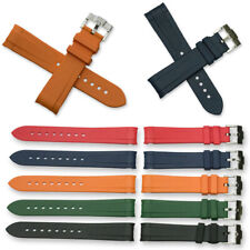 Curved End Silicone Rubber Watch Divers Strap Band Orange Blue Black 20mm & 22mm