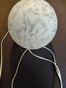 IKEA FADO Kugellampe mit Blumenmuster Tischleuchte Nachttisch Lampe Leuchte Glas
