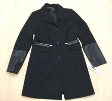 DKNY Women's SB Reefer w/ Half Faux Leather Sleeve Coat Black GG8 Size 10 NWT