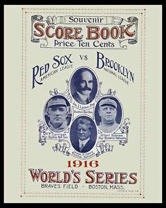 1916 World Series Score Card Cover - Red Sox vs Brooklyn - 8x10 Photo