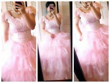 Stuning! vintage victorian beads pink ruffles wedding dress wedding gown