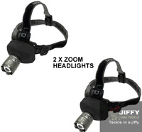 2 X Super Bright 1W LED Zoom Function cree Headlight Camping Night Fishing Hikin