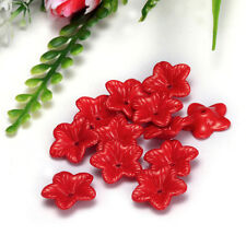 Free Shipping 18mm 400pcs FROSTED Red Color ACRYLIC PLASTIC FLOWER BEADS 111 NEW