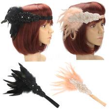 1920s Feather Headband Bridal 20s Great Gatsby Flapper Costume Headpiece