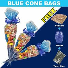 50 Blue Cellophane Cone Bags Twist Ties Large size Party Sweet Cello Candy