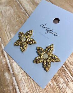 Deepa Gurnani Handmade Golden Crystal Post Earrings $30 New