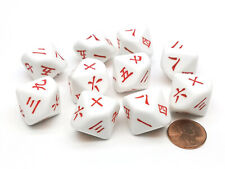 Pack of 10 D10 20mm Japanese and Chinese Word Number Dice 1 to 10 - White w/ Red