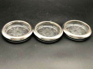 SET OF 3-- GLASS & SILVER PLATED COASTERS--LEONARDS ITALY