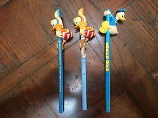 Set of 3 Vintage Donald Duck Pencil and Pencil Topper