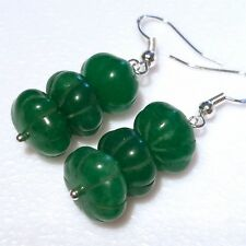 LONG GORGEOUS 925 SILVER GREEN CARVED EMERALD EARRINGS. (E3)