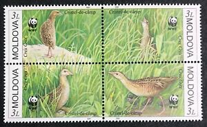 Moldova - 2001 - WWF Birds - Block of 4 Stamps & FDCs - Unmounted Mint.