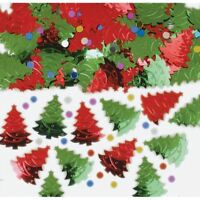 Christmas Tree Festive Red Green Metallic Confetti Xmas Tableware