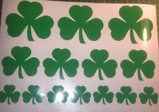Irish Lucky Shamrock (trèfle) A4 feuille de 14 intérieur/extérieur Vinyle Autocollants