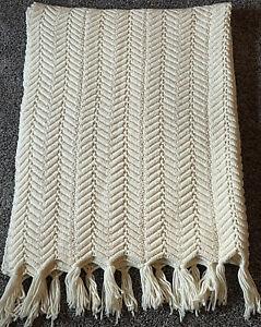"Vintage Handmade Cream Crochet Afghan Blanket  Chevron Throw Tassels 49"" x 70"""