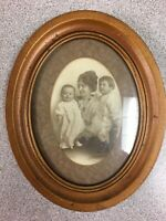 Antique Oval Wood Framed Photo Mother With Two Small Children