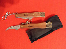 Geschenk Pilzmesser Pilz Taschenmesser mit Gravur Schwammerlmesser Bürste Tasche