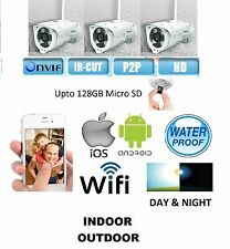 3 x HD Waterproof BUILT-IN RECORD Onvif 2.4.2 WiFi IP Day Night Security Camera
