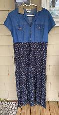 Vtg California Classics Denim & Floral Print Button Down Maxi Dress - Size 12