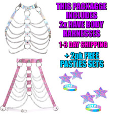 Pink Rave Body Harness Bra + SIlver Bra Harness 2 Pasties Sets 1-3 Day Shipping