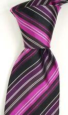 NWT Gianluca G. Black Silk Neck Tie w/ Purple & Pink Repp Stripes ITALY