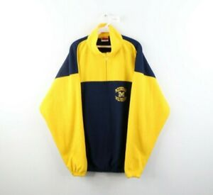 Vintage 90s Mens XL University of Michigan Spell Out Fleece Pullover Sweater