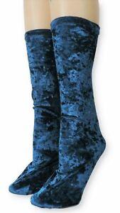 Navy Blue Crushed Velvet Socks