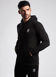 Gym King Basis Pullover Hoodie Black Cotton Fleece Hooded Top Slim Fit