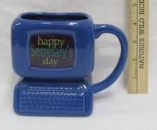 Secretarys Day Coffee Cup Mug Blue Computer Shaped Vase Pen Pencil Holder Gift