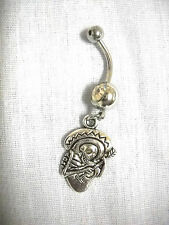 MEXICAN SKELETON PLAYING GUITAR IN SOMBRERO ON CLEAR CZ BELLY RING NAVEL JEWELRY