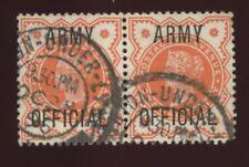 GB OFFICIAL ARMY QV 1/2d PAIR ASHTON UNDER LYNE CDS PMK