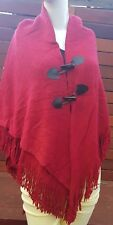 Strawberry Red Poncho Shrug Cape with Tassled Edges