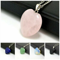 Natural Quartz Gemstone Stone Heart Rock Pendant Healing Point Chakra Necklace