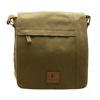 Underwood & Tanner - Large Olive Green Canvas Messenger Bag with Leather Trim
